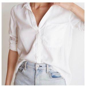 Bella Dahl Frayed Hem Shirt Tail White Button Down